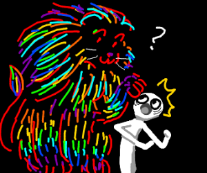Rainbow lion pokes a man curiously