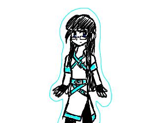 Girl w glasses+long black hair+ice aura+belts