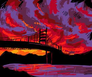 Golden Gate Bridge during a bloody sunset