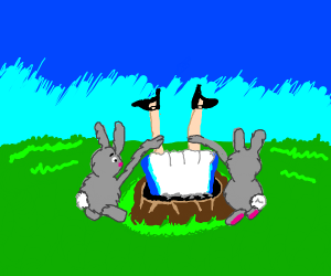 Rabbits try to get Alice out of hole