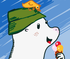 Seal eating ice cream with a duck on his head