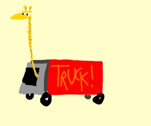 Giraffe driving a truck