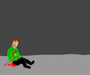 man on ground with butcher knife in abdomen