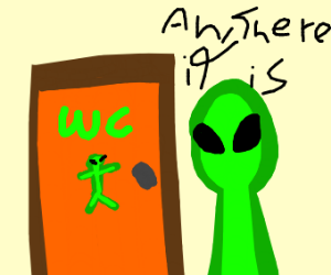 Alien figures out what restroom to use