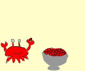 Crab likes caviar