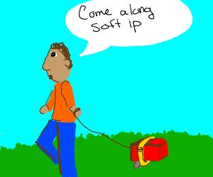 a man is walking a brick called soft ip