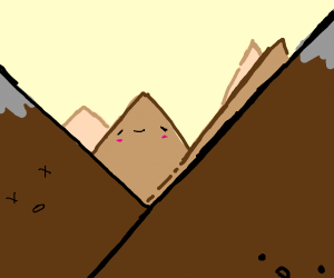 Mountain Range with a smiley face