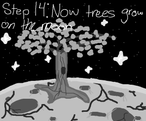 Step 13: Use the tree to destroy the moon.