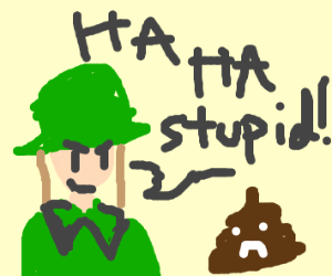 a soldier bullying a pile of poo