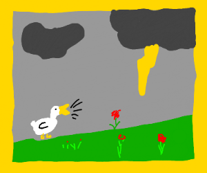 An epic drawing of a honking goose