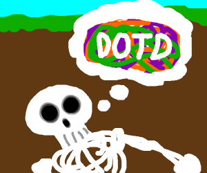 Skeleton thinks about the Day Of The Dead