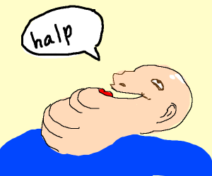 Bald man needs help