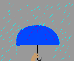 carrying an umbrella in the rain