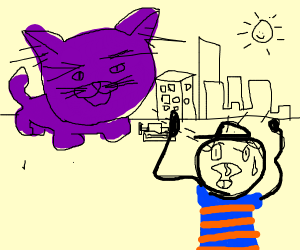 A boy scared by an enormous cat