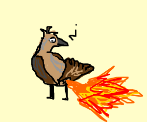 bird with fire coming out of its ass