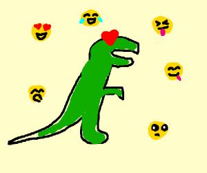 dinosaur loves emoticons