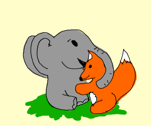 elephant and a large fox hugging