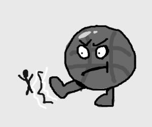 Ball with feet kicks man in grey scale.