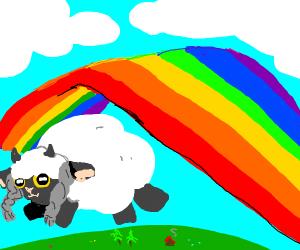 flying cloud says baaahh underneath rainbow