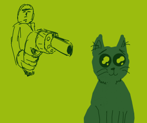 Guy pointing revolver at cute kitty