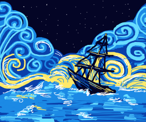 A ship in stormy waters