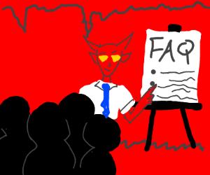 Demon introducing hell's FAQ's