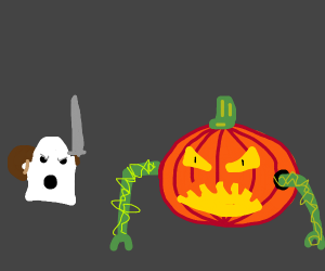 angry ghost fights a pumpkin monster