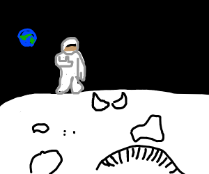 Man on the moon is far from home