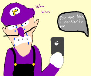 Waluigi crying over rejection letter