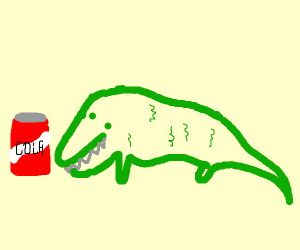 Alligator with a can of cola