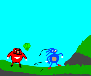 knuckles gets green emerald and sonic is mad