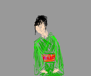 Woman in a red and green kimono