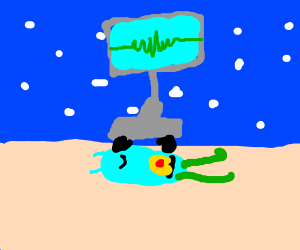 Karen rolling on top of Plankton