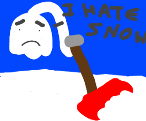 sad ghost shovels snow