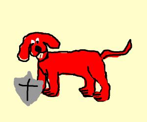 big dog with shield