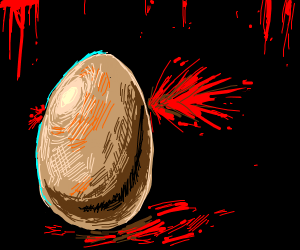 Egg with blood on a table