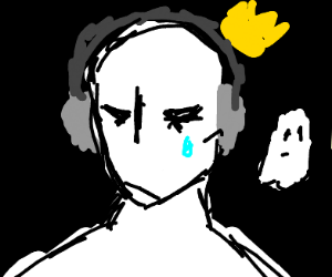 Ghost with headphones and crown crying and