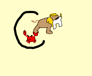 Lobster eating a lion eating a unicorn in a c
