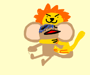 Lion strangles a monkey