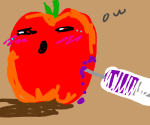 an apple gets injected with jelly