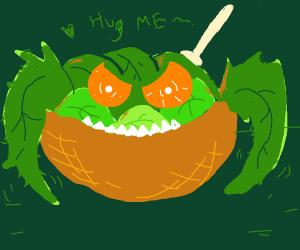 evil salad wants hug