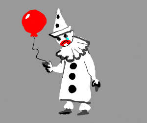 Depressed clown gives up balloon.