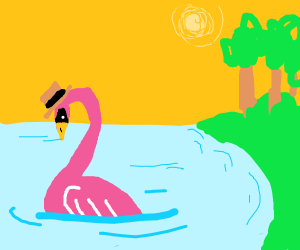 a pink swan in a hat