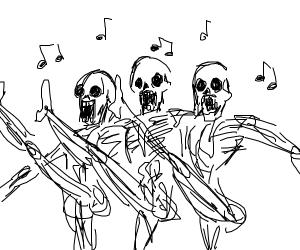 Skeleton chorus line. Cancan, anyone?