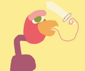 Vulture holds Sword with Tongue
