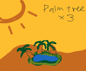 An oasis with three palm trees