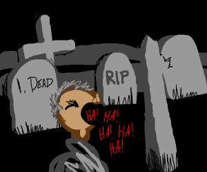 Guy laughs at his dead peers