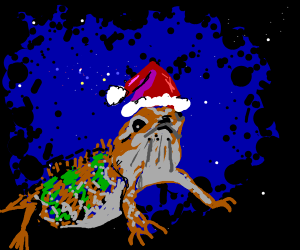 Lizard with a santa hat looking into space