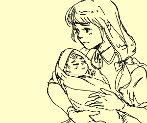 A mother and her baby