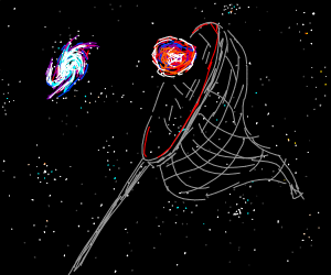 Butterfly net tries to catch galaxies.